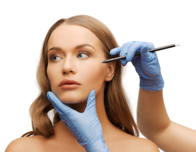 Woman Face And Beautician Hands With Pencil Temecula Weight Loss